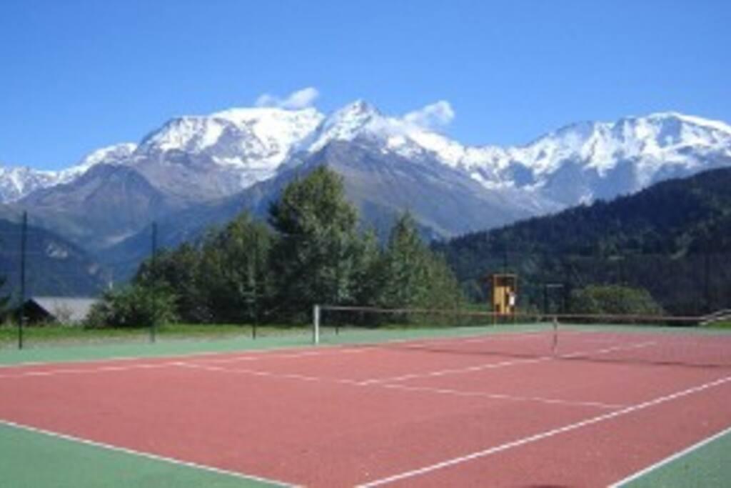 Terrain de tennis privée.