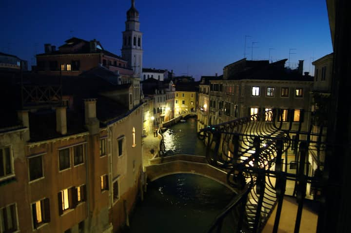 balcony canal view central Venice