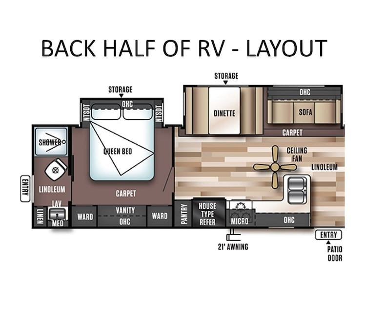 BACK layout of the RV (3 beds 2 baths total).  Bed #2 in the rear has a Queen bed and bathroom #2 is a full bathroom (shower/toilet/sink)