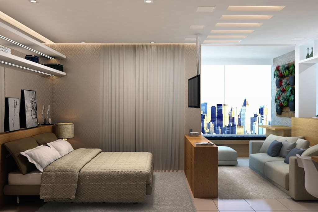 Professional interior design with swivel Led TV and ambiance sound system