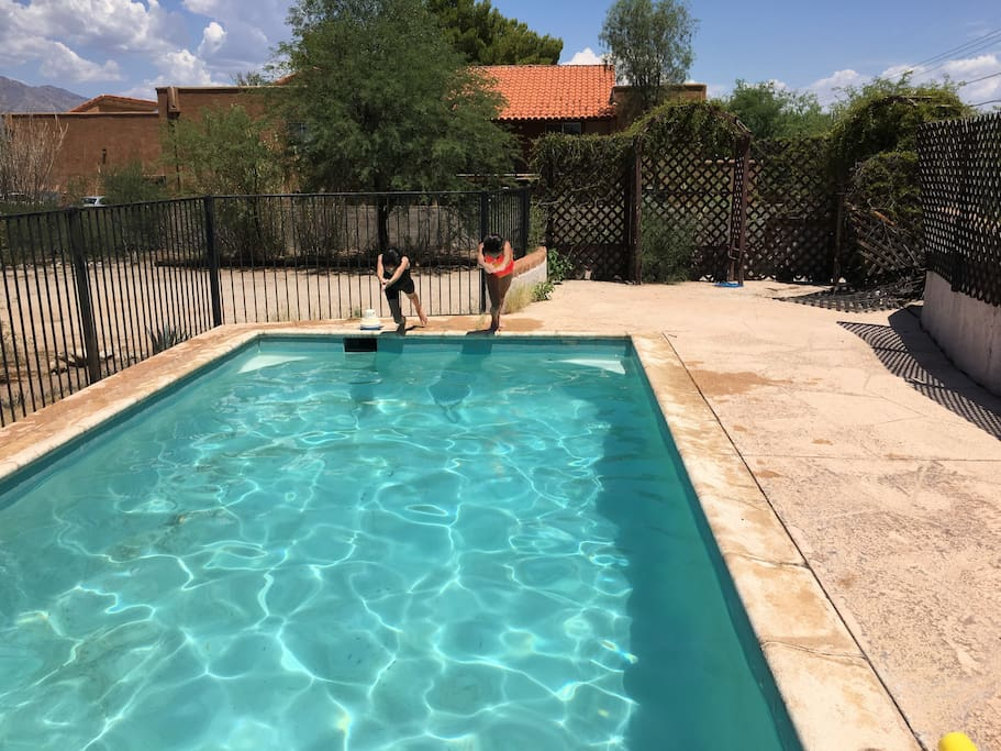 In the summer the pool is a great way to cool off.
