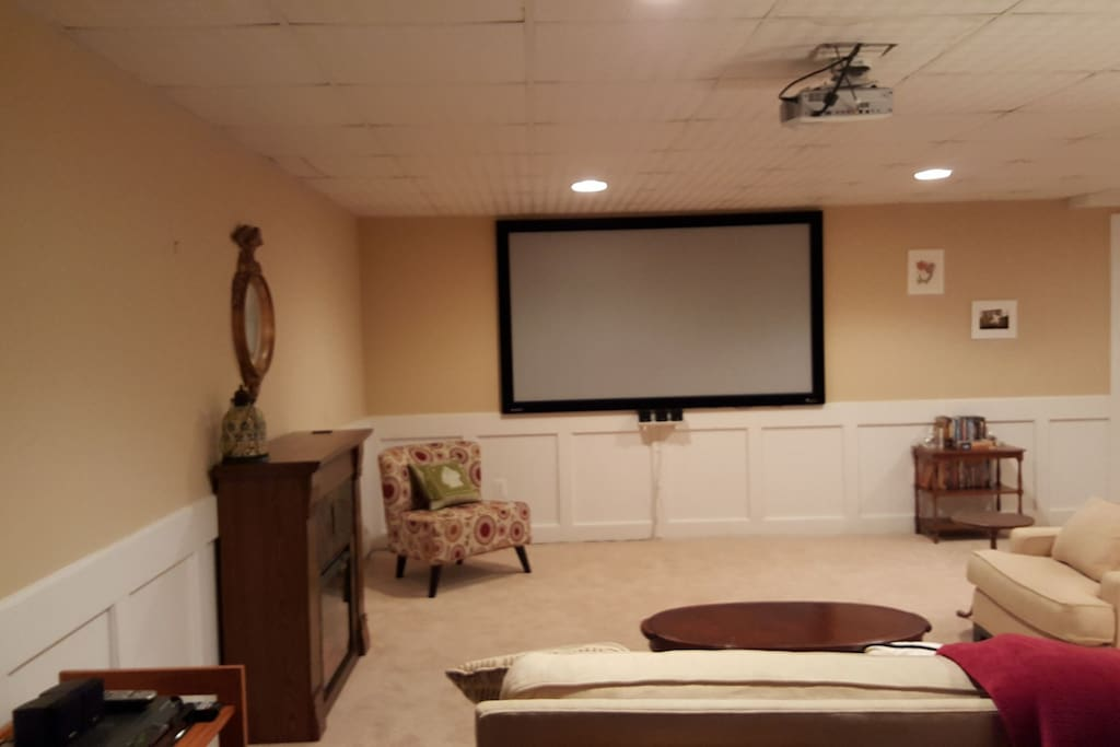 You can enjoy tv or movies on the large projector tv