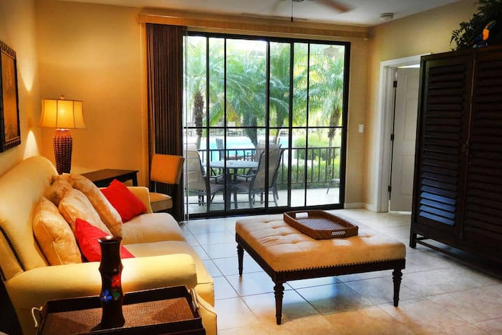 Ground-floor unit in front of lazy river pool at Pacifico in Coco