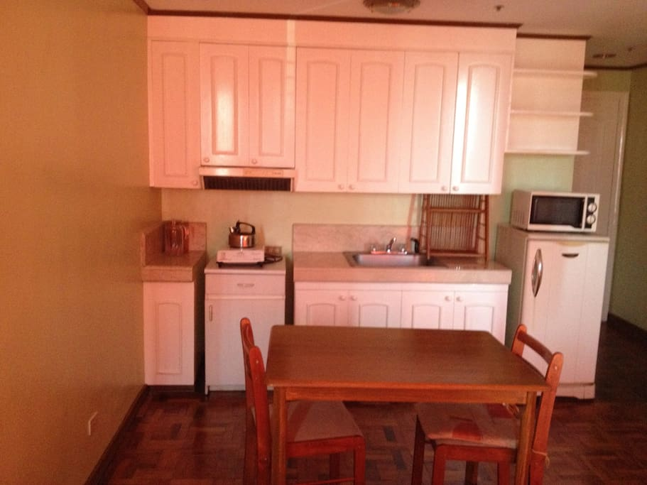 Kitchenette with small dining table