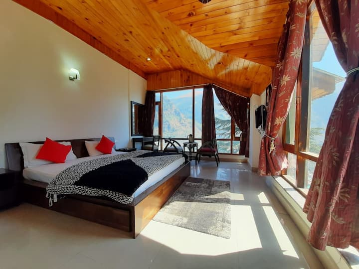 Wooden room with french windows, Manali