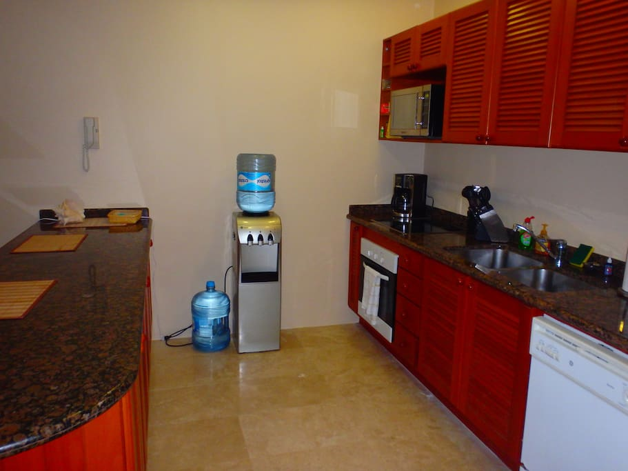 Kitchen with oven, stove top, microwave, dishwasher!
