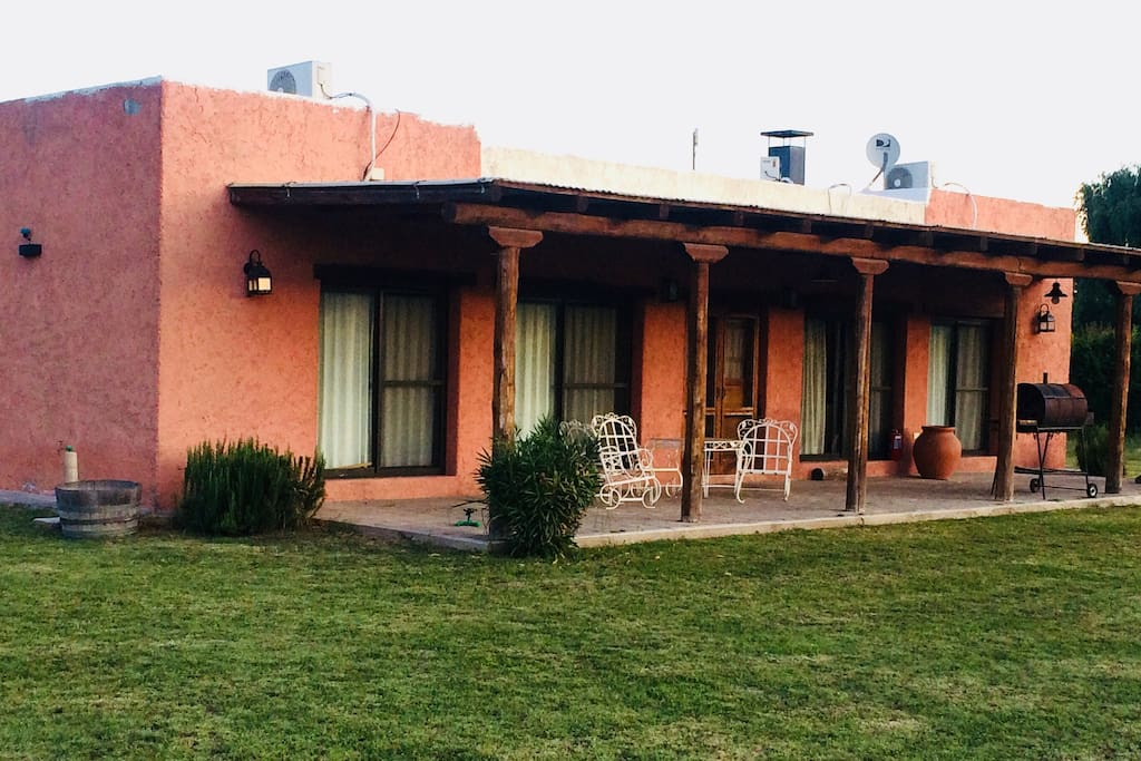 Comfortable front gallery with view of the Andes