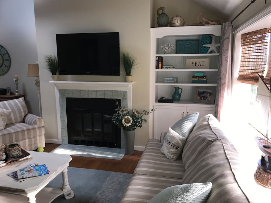 Family room with large TV
