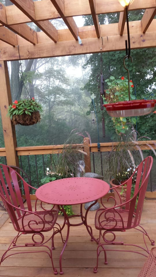 View of deck from kitchen on a foggy morning
