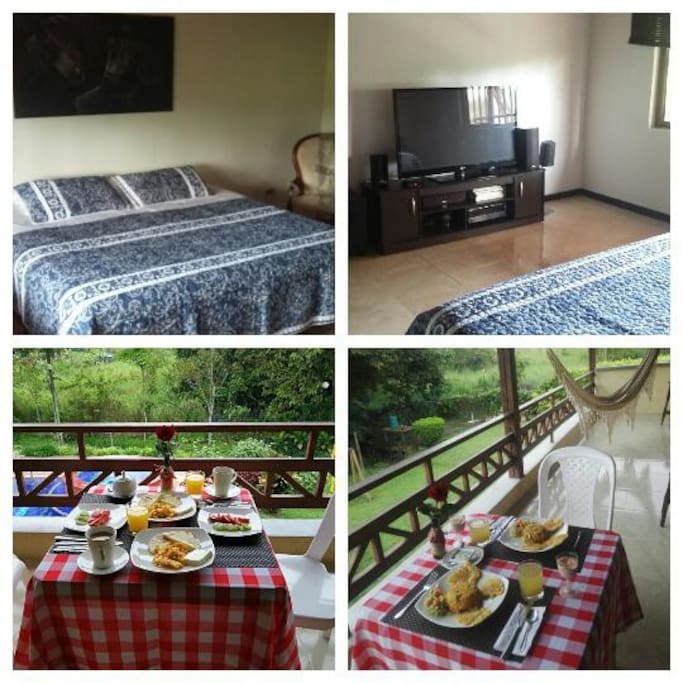 Suite privada,solo esta habitación en el segundo piso,cama 2x2 ,incluye el balcón con hamaca y mesa para el desayuno si así lo prefiere. Tv de 50 pulgadas,baño privado,sala privada entre la habitación y el balcón. Costo por persona adicional 55000 pesos