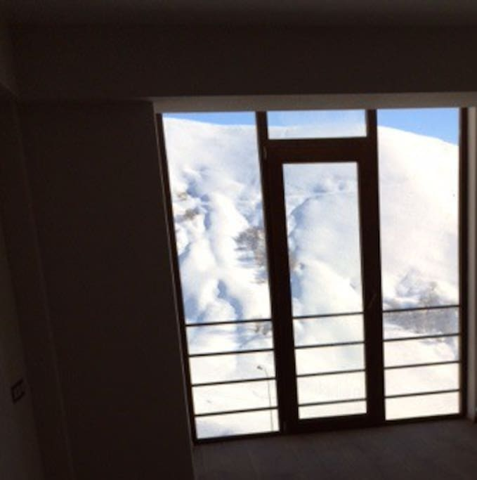 Mountain view from the room in the winter