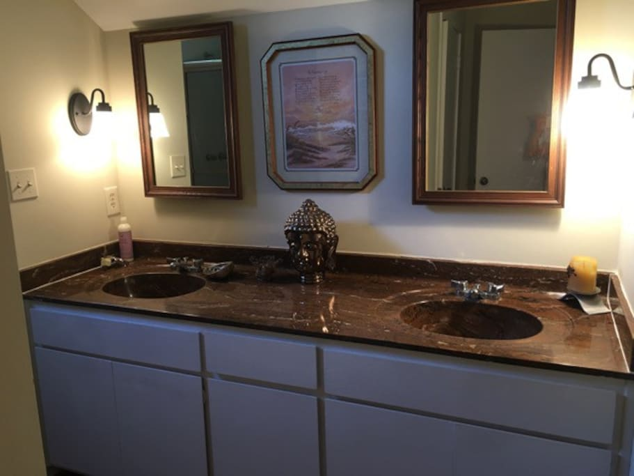 Private bathroom double sink