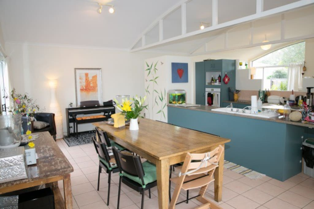 open kitchen dining living space