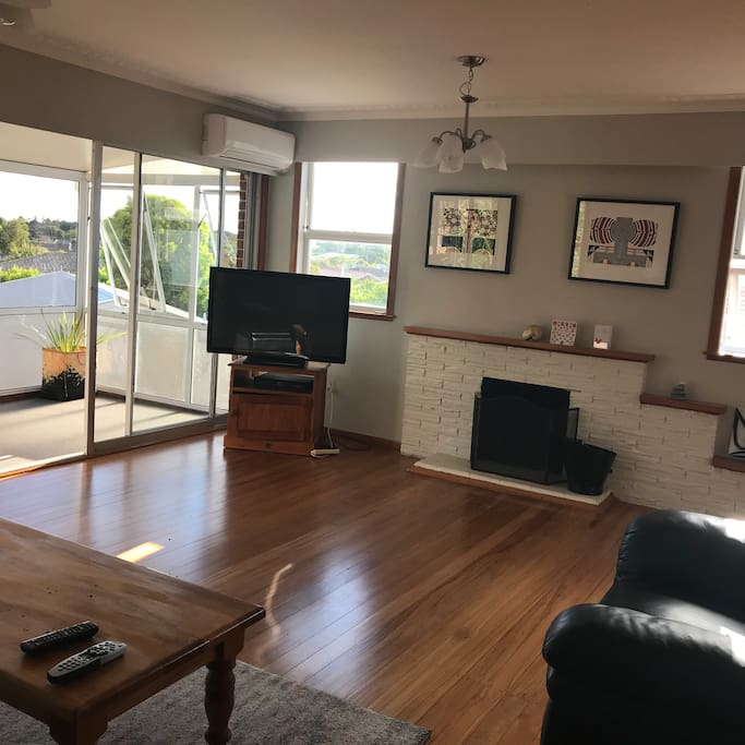 Lovely rimu floors in main living area upstairs