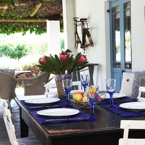 Relaxed dining on large covered patio