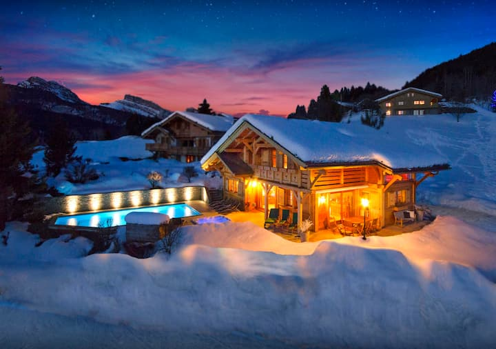 Gym, hot tub and heated pool at this 5* luxury ski chalet - OVO Network