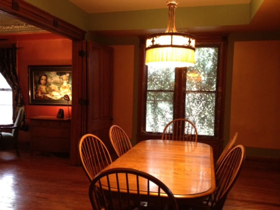 A leaf can be added to the dining room to seat 8.  And yes! We have extra matching chairs.