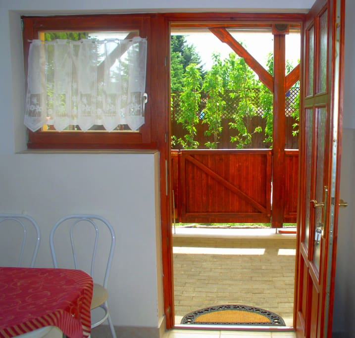 Covered terrace direct from the kitchen