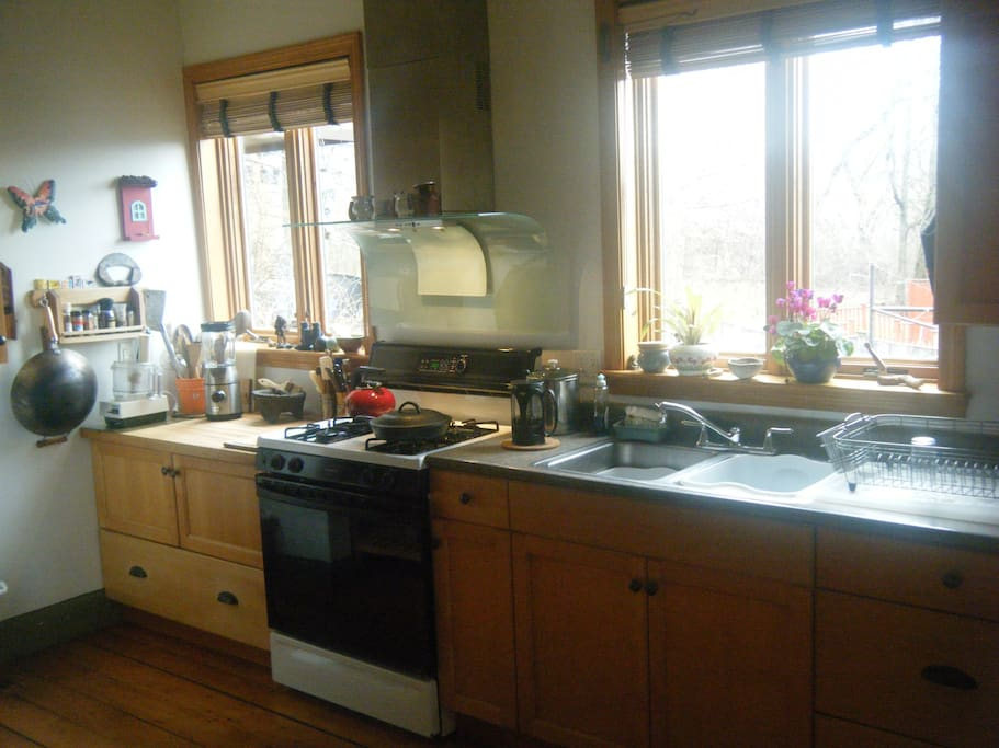 Full kitchen space has 2 awning windows that look out onto patio and huge garden