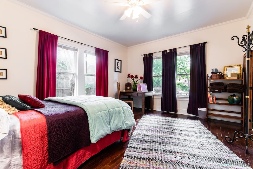 spacious guest room with lots of natural light if desired.