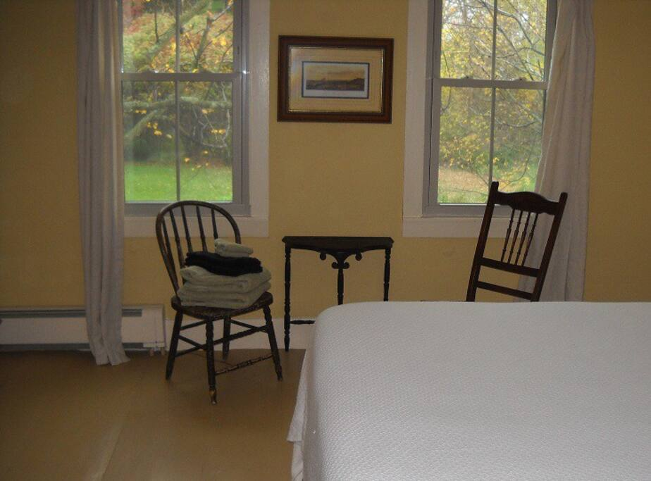 Seating area in the Romantic Room. Watch squirrels in the Maple Trees.