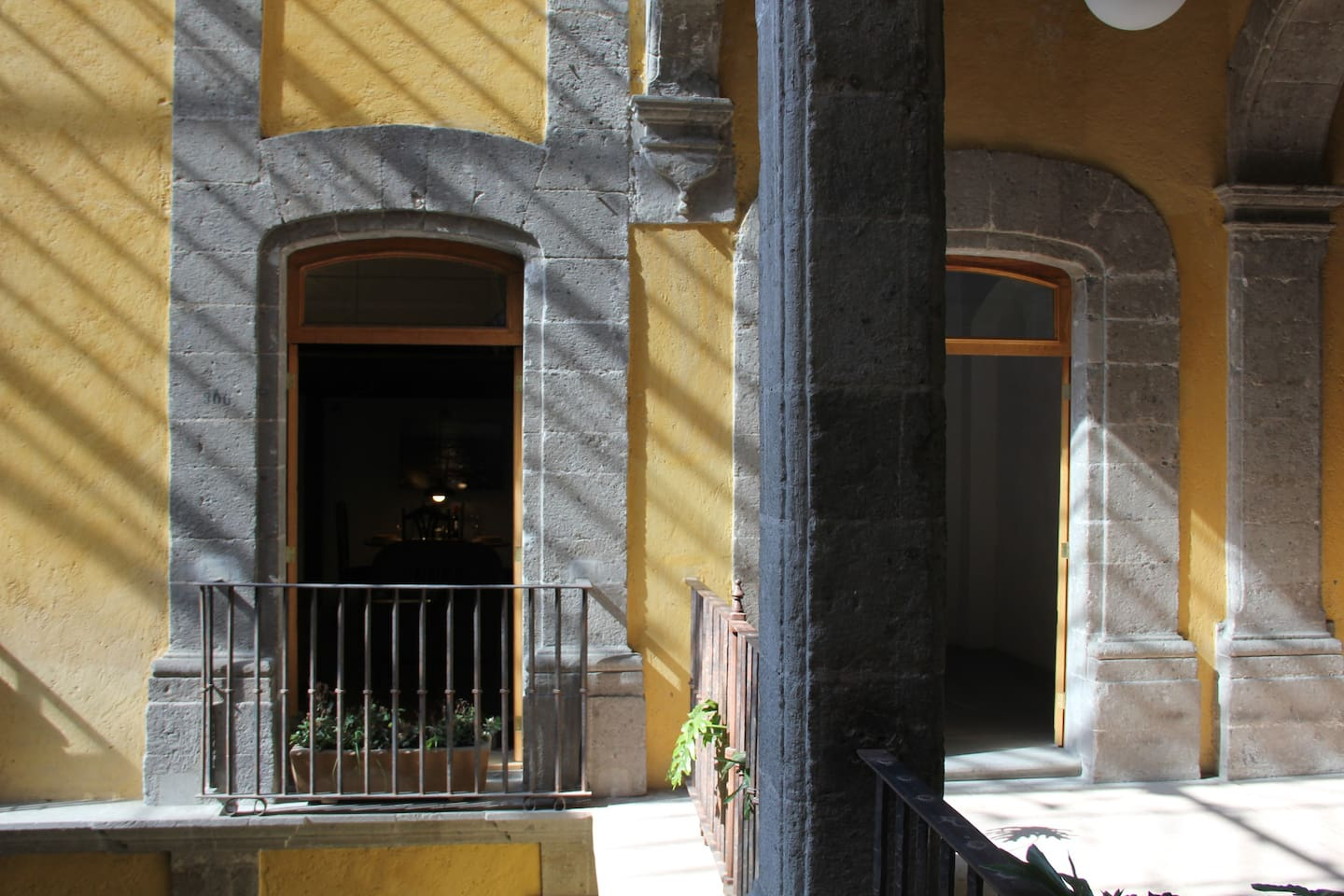 On the left your balcony, on the right the entrance to the apartment