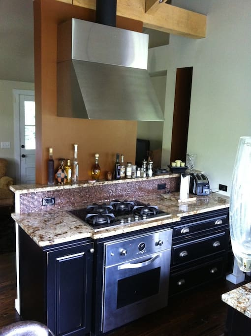 fully equipped gourmet kitchen