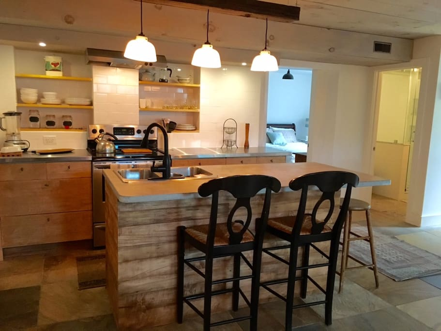 Brand new chef's kitchen with concrete island