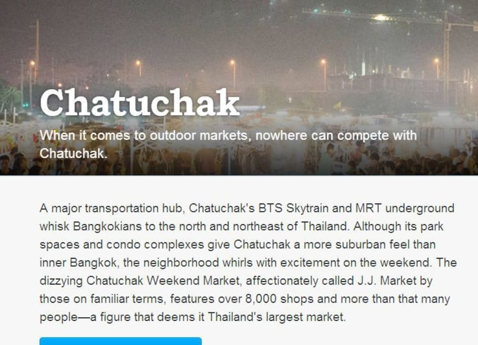 A description about Chatuchak given by Airbnb