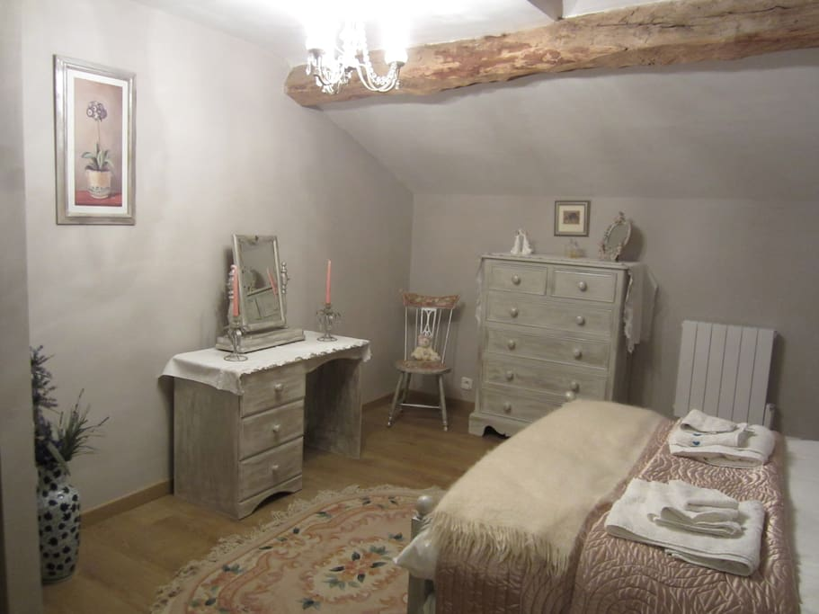 Our French Adam bedroom is situated upstairs and is light and spacious with a feather mattress topper.