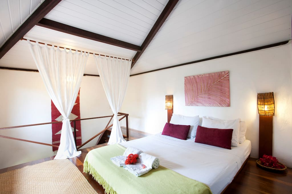 natural wooden floors, decorated with local handicraft, access via a wooden staircase