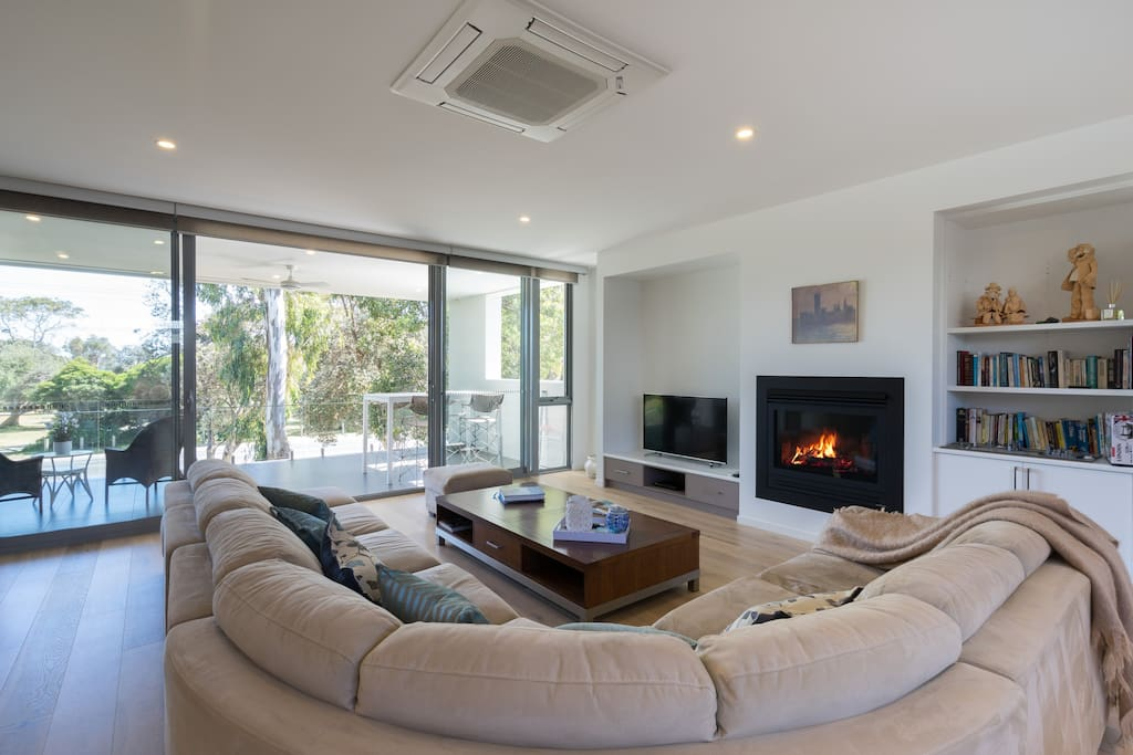Enjoy the gas log fire when the weather is cooler and read the books and visitor information on the many Mornington Peninsula attractions including wineries hot springs art galleries bush walk  art galleries markets and more