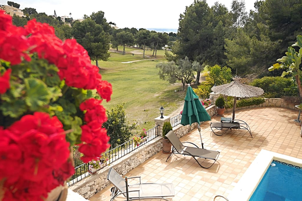view over golf course to sea