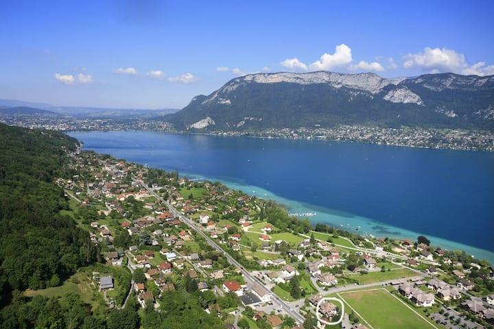 Grand T2 proche Annecy calme terrasse vue montagne