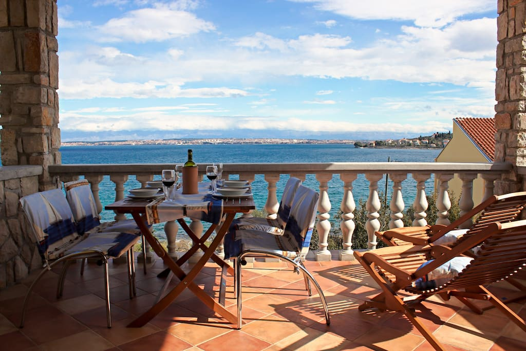 Terrace with the wide view of the sea + Zadar and the mountains in the distance