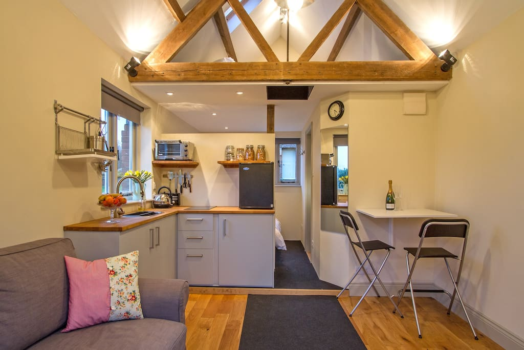 The Annexe at The Well House -  Sitting Room and kitchenette leading to double bed and bathroom