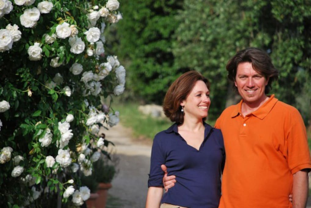 Laura and Filippo your hosts at at Ancora del Chianti Eco BB & Art Retreat