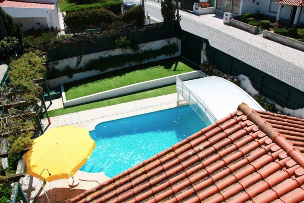 Swimming pool view from the balcony.