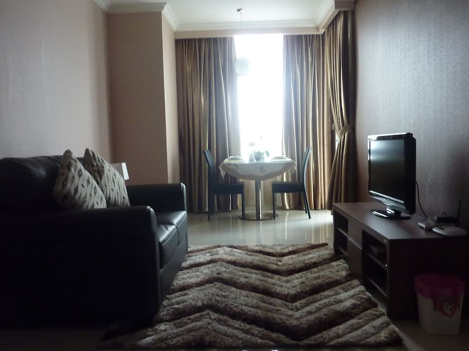 Cozy living room, include TV set with more than 150 premium channels and DVD players