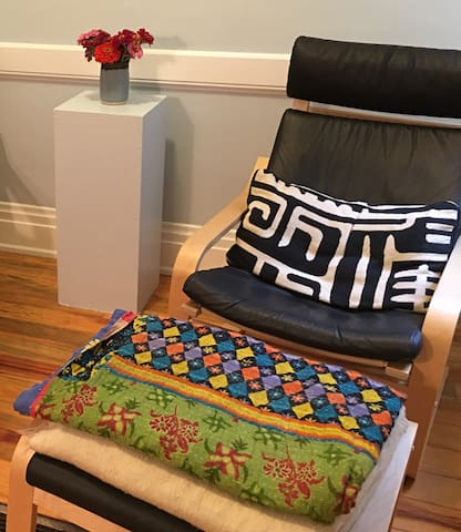 Lounge chair w/ ottoman in living room
