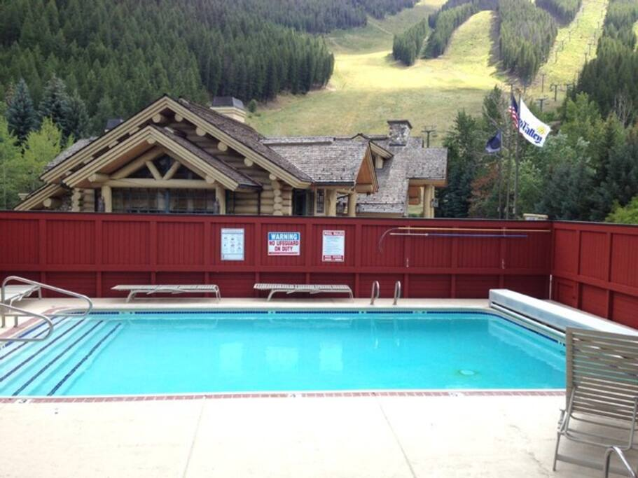 Private pool that's heated in the winter with mountain views.