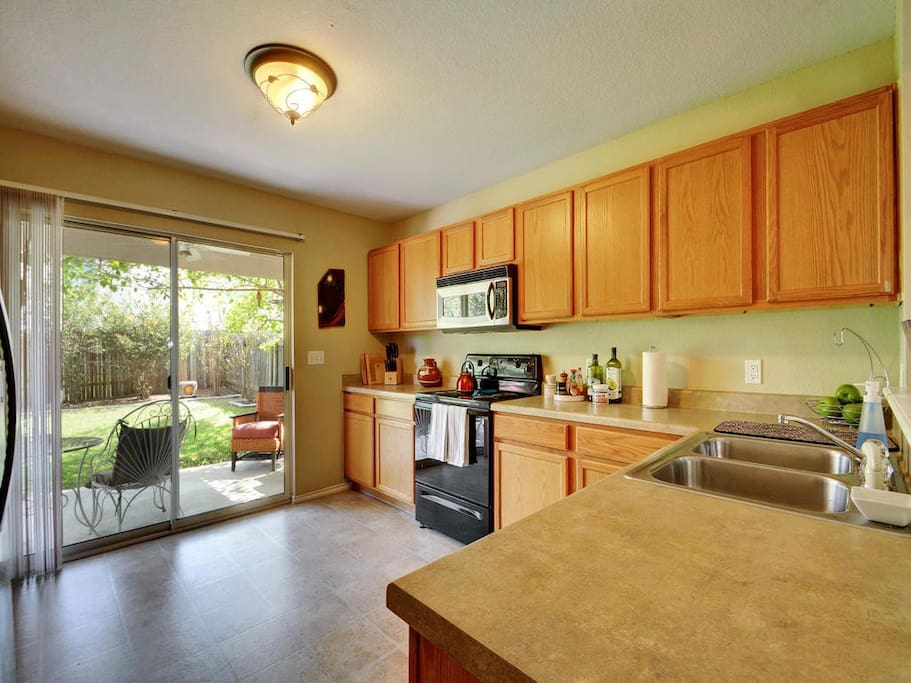 Large kitchen for a delicious home cooked meal.