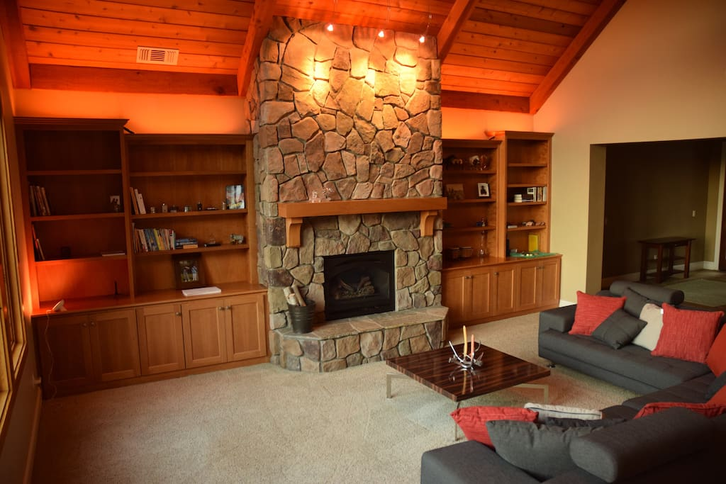 Peaceful living room with fireplace