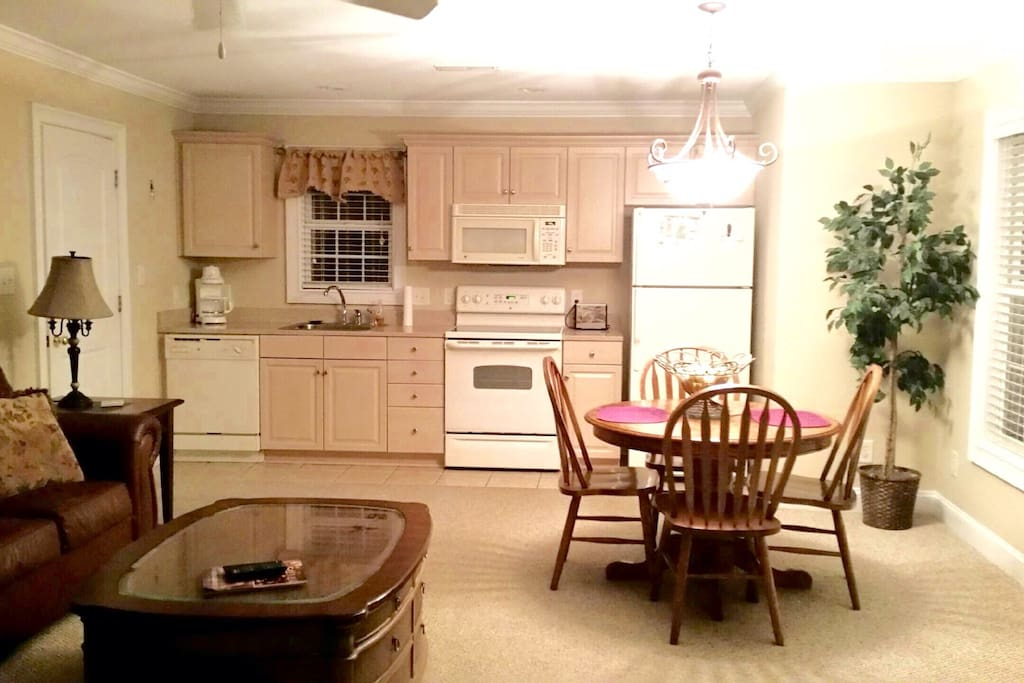 Microwave, dishwasher, refrigerator & Dining area. Fully functioning kitchen i.e. Dishes, silverware ect.