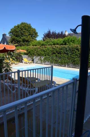 (14) studio avec piscine + parking, proche plage