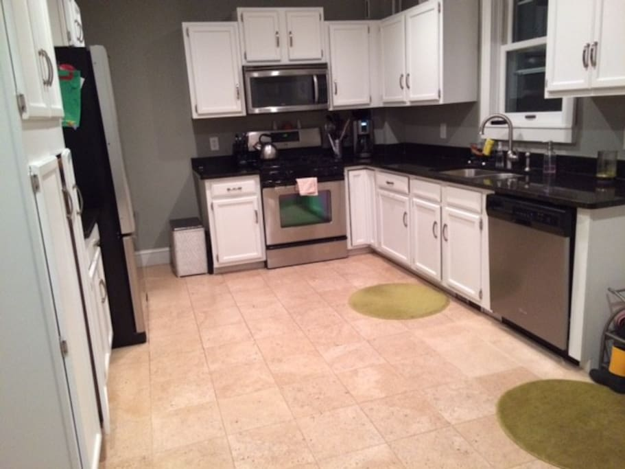 Large, furnished kitchen.