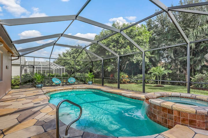 Picture yourself relaxing with a cold beverage while listening to the tranquil waterfall. This pool is oversized compared to other pools in Briarwood. The pool is updated with saltwater cell, LED lights, and automation. Saltwater is soft on your skin
