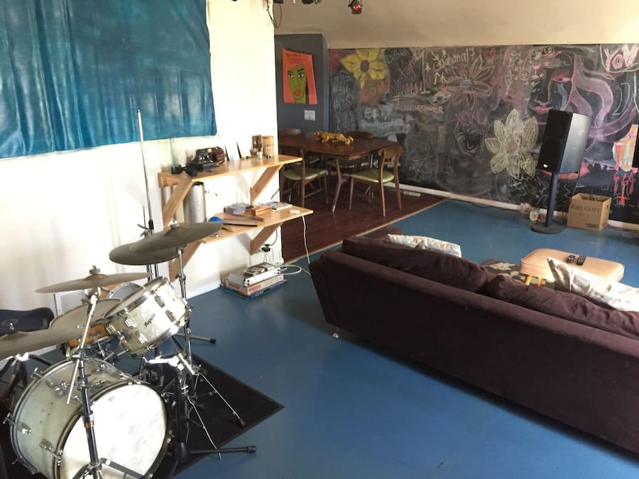 Drum kit included.  And a chalk board wall in the living & dining areas.  Add your art when you stay.