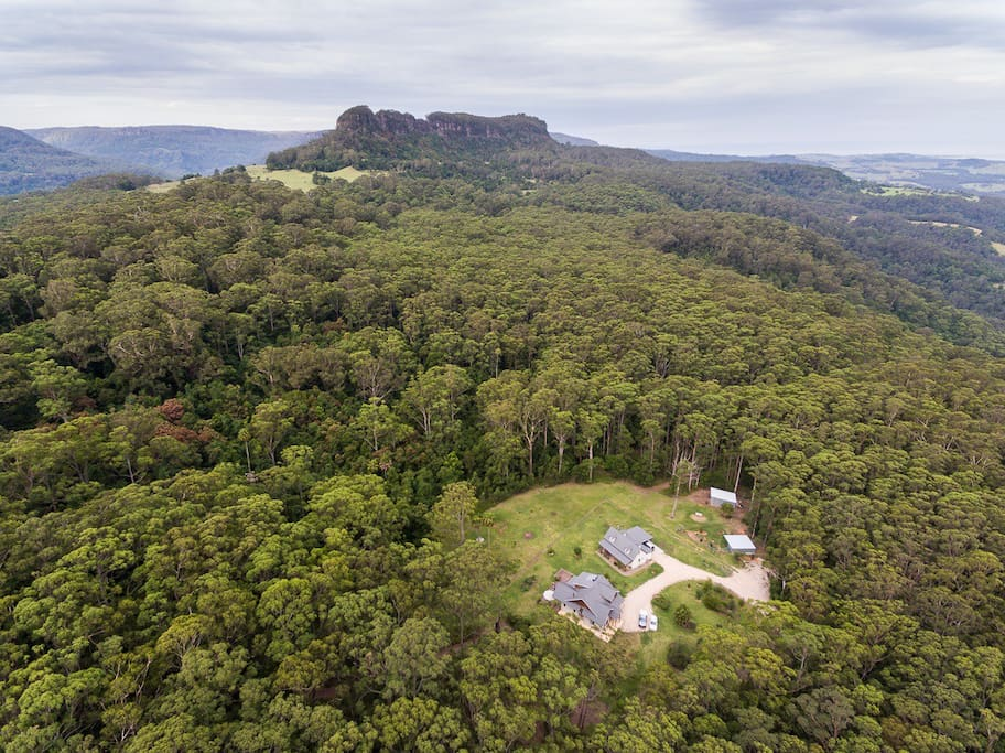 Aerial view of Boobook Mountain Cottage/property Rodway Nature Reserve