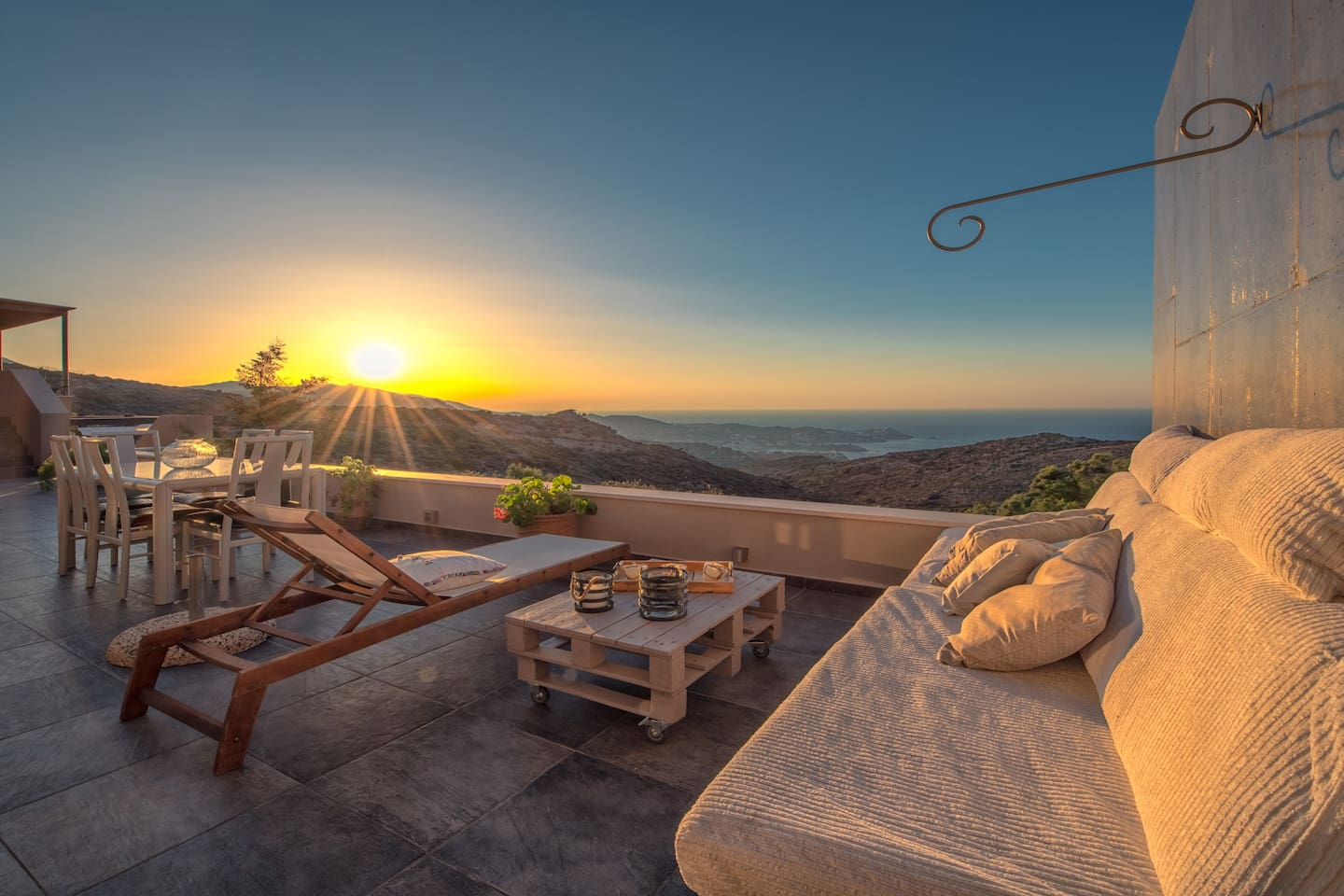 View of the sunset from the villa's patio